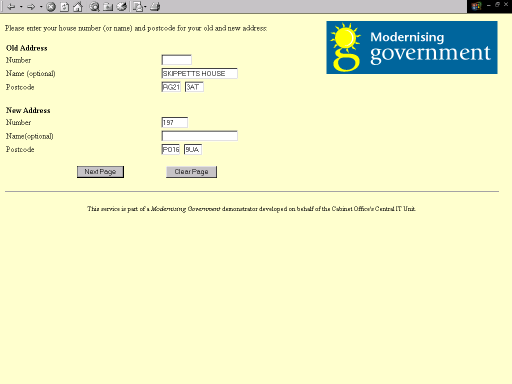 more on the 1999 change of address demonstrator new tech