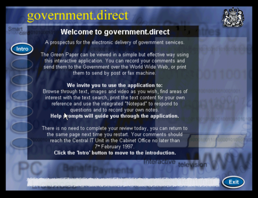 An introductory screen from the 1996 interactive CD-ROM 'Government Direct'